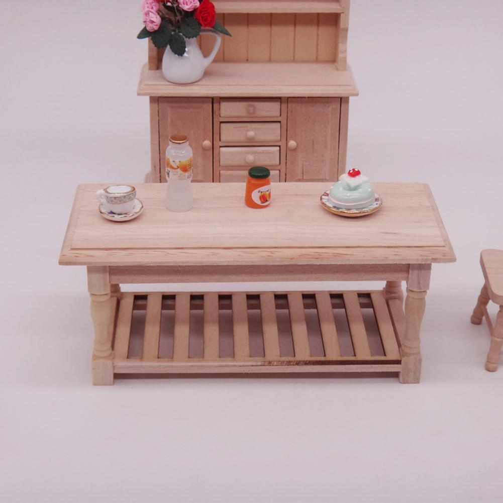 1/12 Wooden Miniature Blank Tea Table Furniture Model DIY Dollhouse Accessory Wood Furniture Set For Dolls