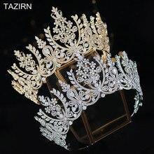 European CZ Crowns and Tiaras For Women Big Luxury Diadema Royal Wedding диадема Tall Zircon Arabic Saudi Arabia корона 2021