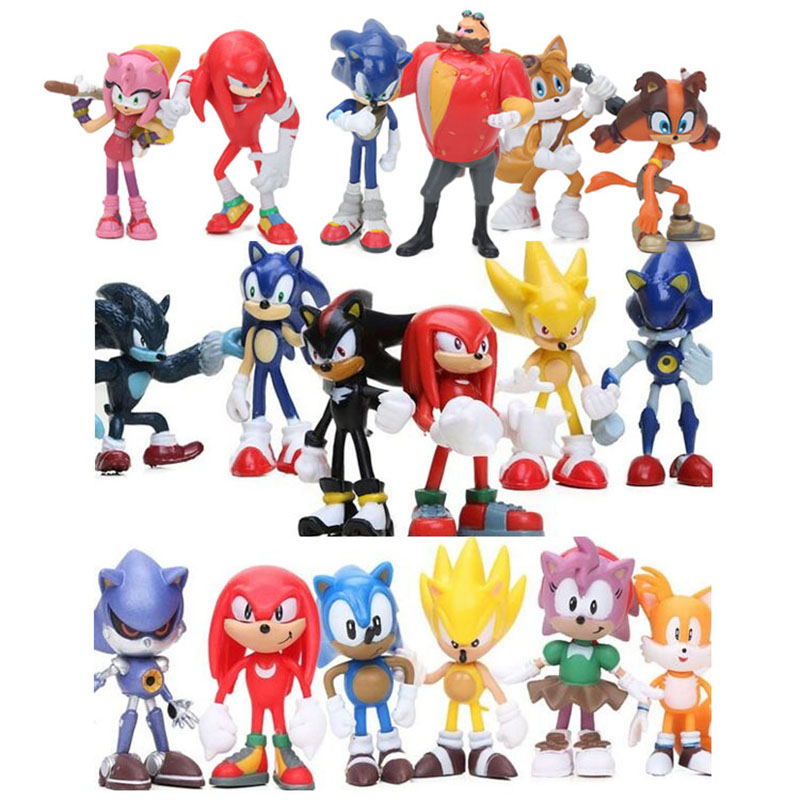 6pcs Set 3 12cm Sonic Figures Toy Super Sonic The Hedgehog Sonic Shadow Tails Knuckles Pvc Action Figure Keychain Figurines Doll Action Toy Figures Aliexpress