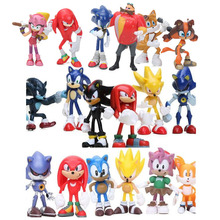 цены 6pcs/set 3-12cm Sonic Figures Toy Super Sonic the Hedgehog Sonic Shadow Tails Knuckles PVC Action Figure Keychain Figurines Doll