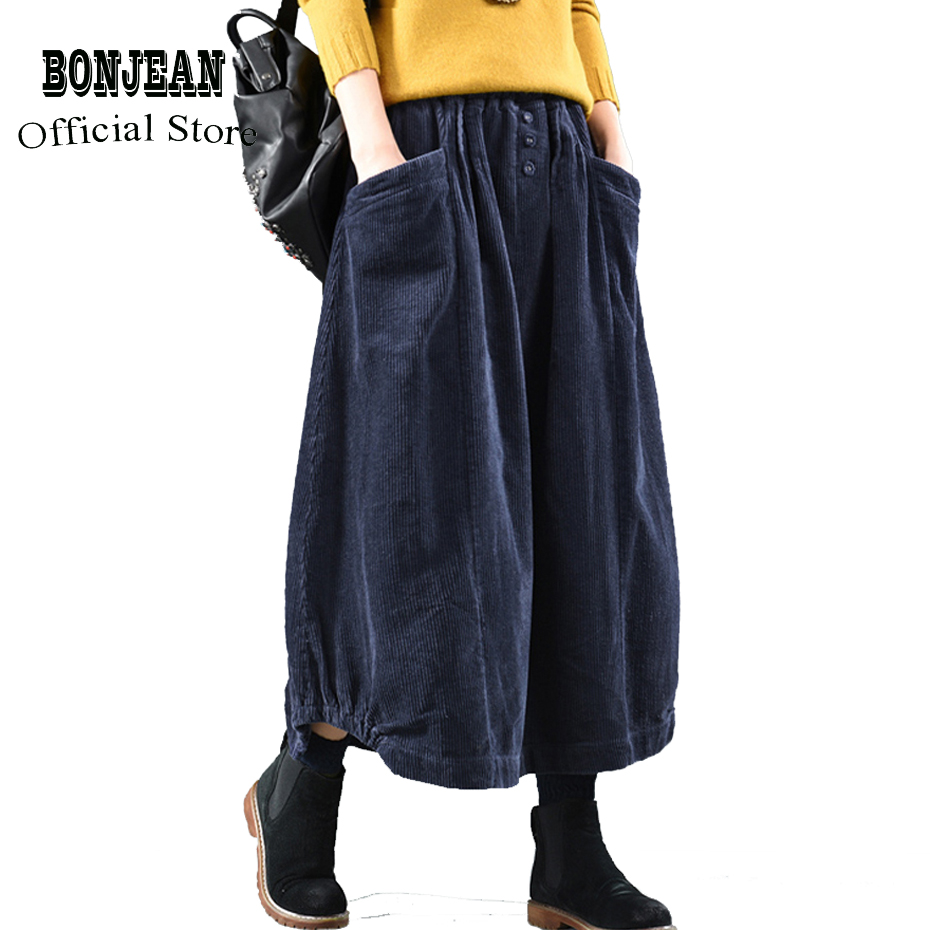 Women Corduroy Skirt Retro Vintage Fashion Thick For Autumn Winter Long Loose Elastic Waist Skirt Buttons Oversized AZ15192317