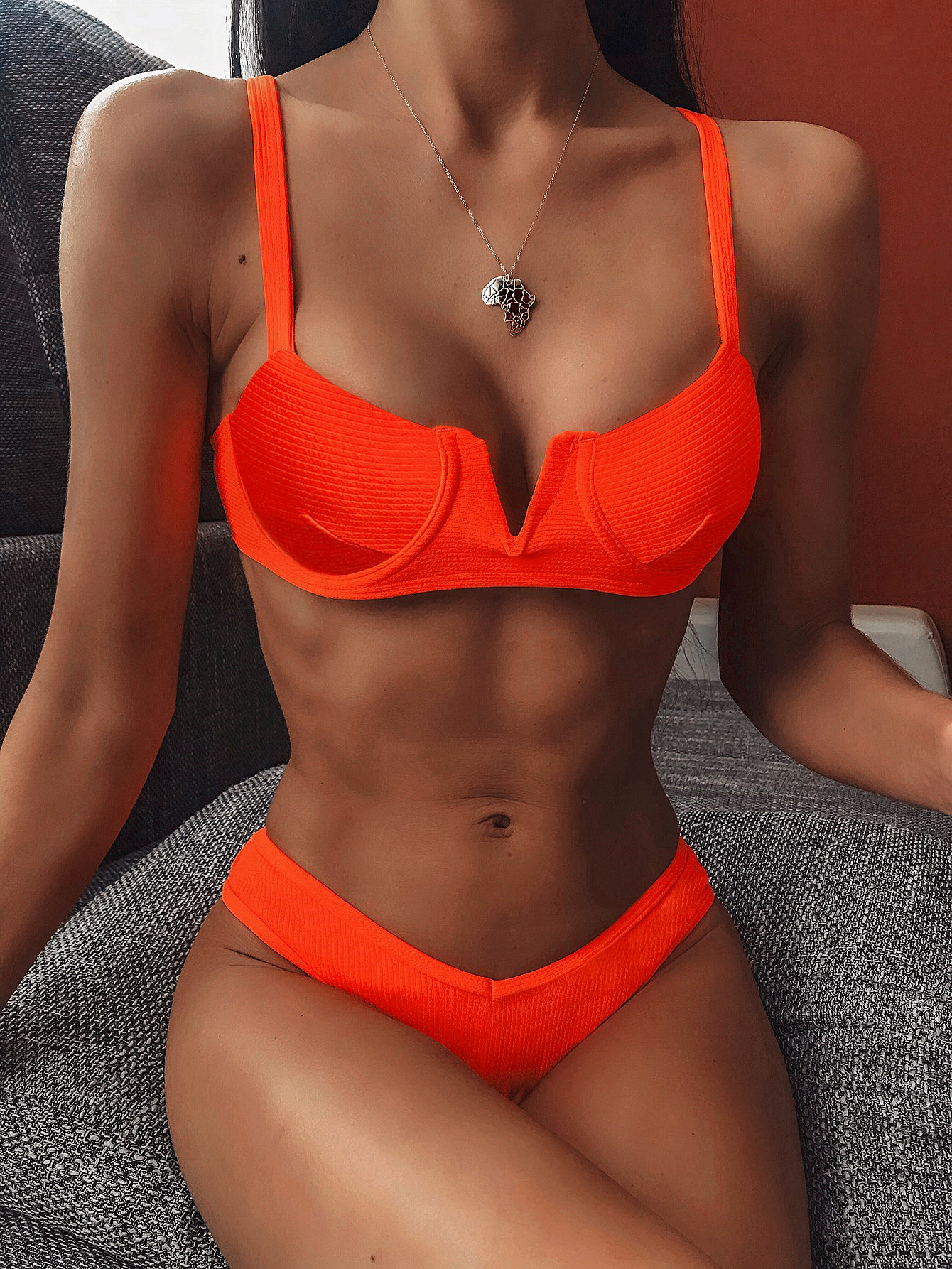 V-neck Push Up Bikini High Cut Ribbed Swimsuit Low Waist Strap Women Swimwear