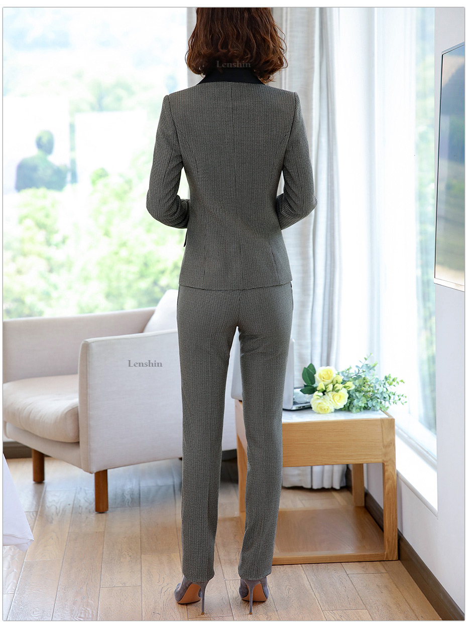 Lenshin High-quality 2 Piece Set Houndstooth Formal Pant Suit Blazer Office Lady Design Women Soft Jacket and Full-Length Pant 38