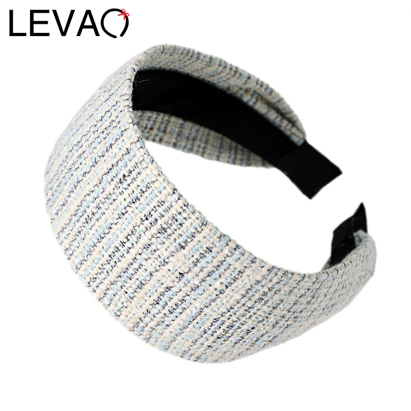 LEVAO New Plaid Wide-width Headband Vintage British Style Hairbands Bezel Turban Women Elegant Girls Hair Accessories Hair Hoop