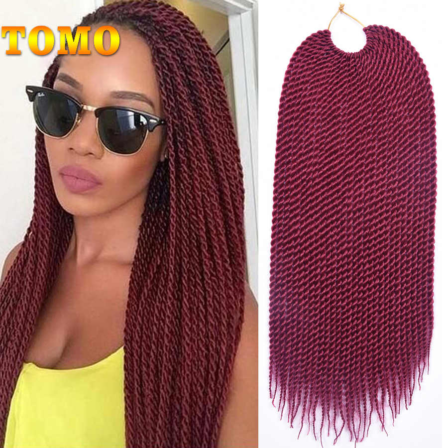 TOMO 30roots Senegalese Twist Crochet Braid Hair Weaves Ombre Synthetic Braiding Hair Extensions Long And Shot Black Brown Red
