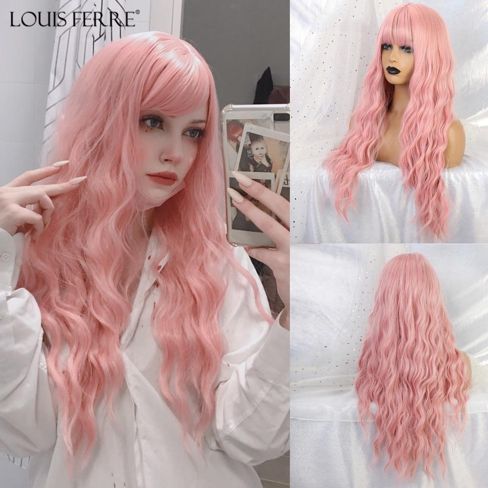 Louis ferr longo rosa ondulado perucas cosplay natural sintético das mulheres peruca com franja cabelo resistente ao calor lolita cosplay party perucas