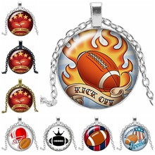 2019 New Best Team Football Home Run Necklace Gift Glass Convex Round Pendant Jewelry