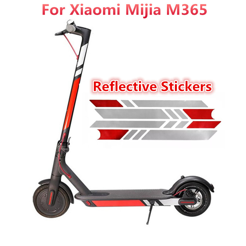 Electric Scooter Reflective Stickers Pedal Stickers Rod Reflective Sticker For Xiaomi M365 Electric Scooter Pro Safety Tool