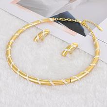 Viennois Conjunto de joyería para mujer, chapado en oro, collar geométrico y pendientes de tuerca, conjunto de joyería estilo Dubái, conjunto de joyería para mujer