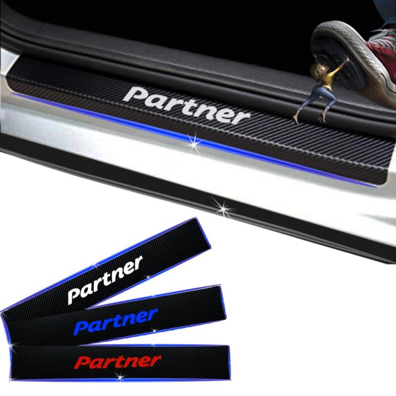 For Peugeot Partner Carbon Fiber Vinyl Sticker Car Door Sill Protector Door Step Plate Protector Interior Car Accessories 4Pcs