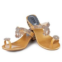 Rhinestone Strip Strap Wedges Shoes Fashion Crystal Flower High Heels Shoes Women Slippers Flip Flops Summer Slides Women Shoes(China)