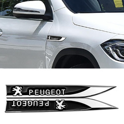 2pcs 3D Decalque Emblema Etiqueta Do Logotipo do Metal Side Fenders Para Peugeot 107 108 206 207 308 307 508 2008 3008 Estilo Do Carro Styling