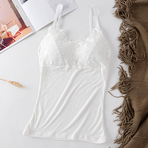Lace Cotton Vest Top Women lingerie Pad Sleeveless Straps Summer Print Tube Tank Tops One-piece Female Camisoles Underwear #F
