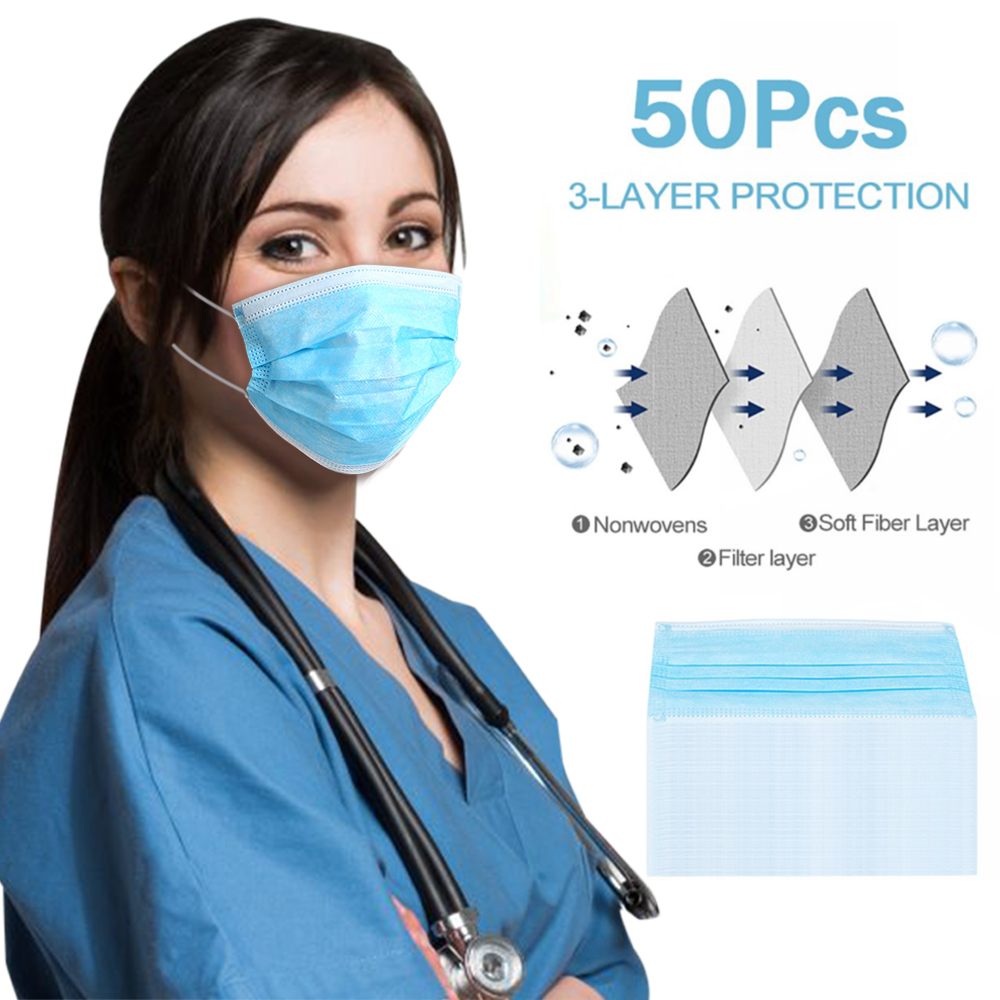 50Pcs/lot CE Certification Face Masks Disposable Protective Mask 3 Layer Earloop Non Woven Mouth Masks Dustproof Filter Mask