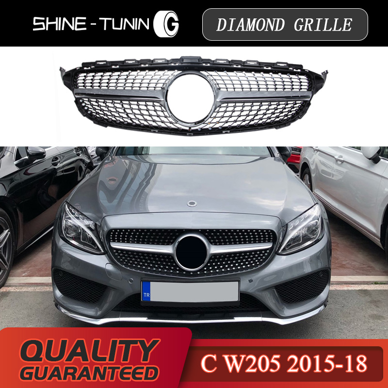 Suitable for M-B C-class w205 diamond radiator silvery gloss black grille c63 AMG for benz 2015 + sports edition abs material grille