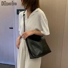 DIINOVIVO Leisure Rivet Handbags Women Chain Handbag Messenger Bag Female Bucket Bags Shoulder Shopping WHDV1249