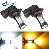 NLpearl 2x samochodów światło przeciwmgielne H8 H11 Led HB4 9006 HB3 9005 mgła żarówka 16SMD 2000LM 6000K biały 3000K żółte światła do jazdy