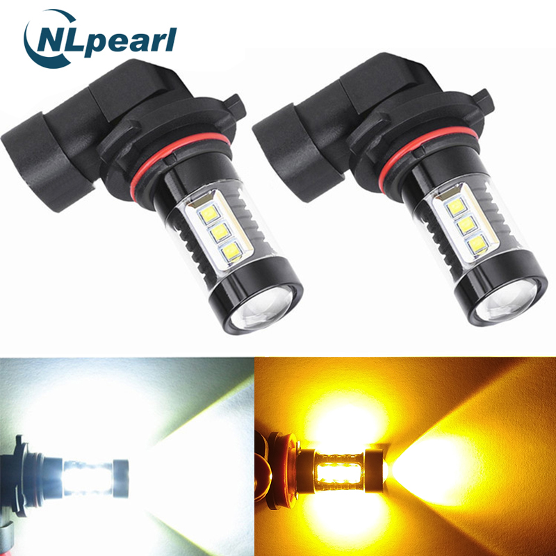 NLpearl 2x Car Fog Lamp H8 H11 Led HB4 9006 HB3 9005 Fog Lights Bulb 16SMD 2000LM 6000K White 3000K Yellow Driving Running Light