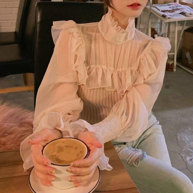 Ezgaga Elegant Party Blouse Women 2021 Spring Mesh Patchwork Flare Sleeve Lace Up Sexy Slim Solid Ladies Shirts Korean Blusas 2