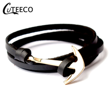 CUTEECO Punk Multilayer Anchor Bracelets Woven Men Bracelet Pulsera Navy Hand Leather Gifts