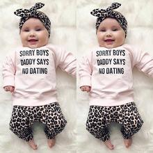 Didi Kids New Fashion 3pcs Cute Baby Girl Fall Clothing Leopard Print T-Shirt Tops Long Pants Outfit Clothes Set