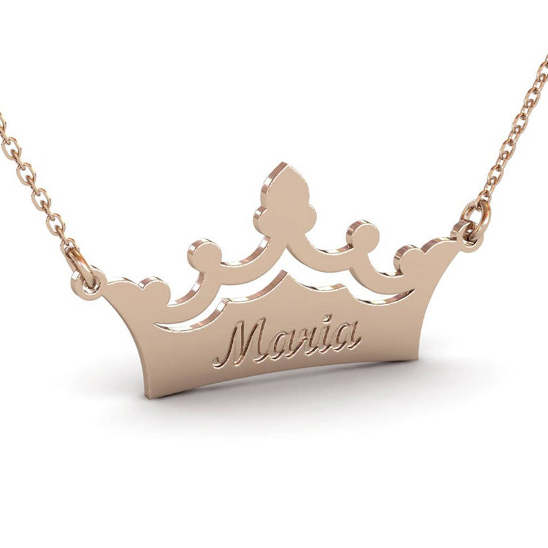 Custom Crown Engraved Name Necklace Silver Gold Chain Stainless Steel Personalized Name Necklace Unique Jewelry Bridesmaid Gift
