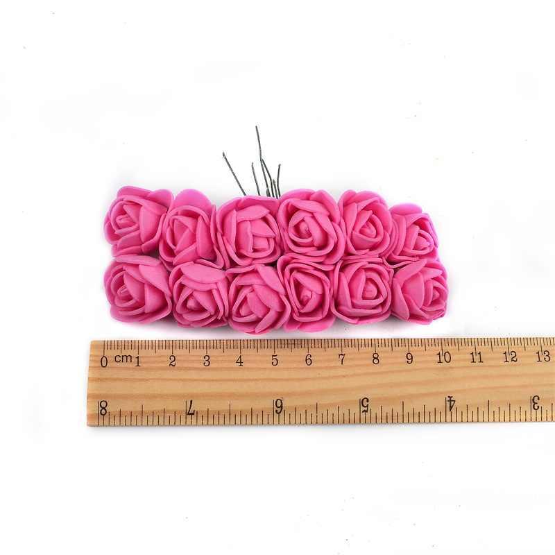 144 PCS/72 PC 2 Cm PE Busa Rose Buatan Bunga Buket Multicolor Rose Pernikahan Dekorasi Bunga Palsu Scrapbooking bunga Mawar