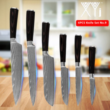 "Kitchen Knives 6pcs Set Stainless Steel Color Wood Handle 7Cr17 Kitchen Accessories Cooking Tools 3.5"" 5"" 5"" 7"" 8"" 8"" Chef Knife(China)"
