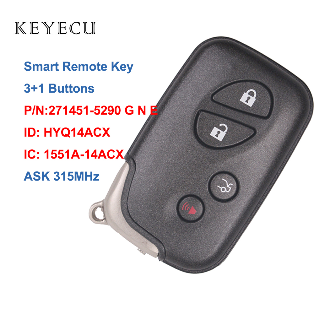 Keyecu Smart Car Remote Key 315MHZ for <font><b>Lexus</b></font> RX350 RX450 <font><b>RX450h</b></font> GX460 LX570 CT200h, HYQ14ACX, 1551A-14ACX, 271451-5290 G N E image