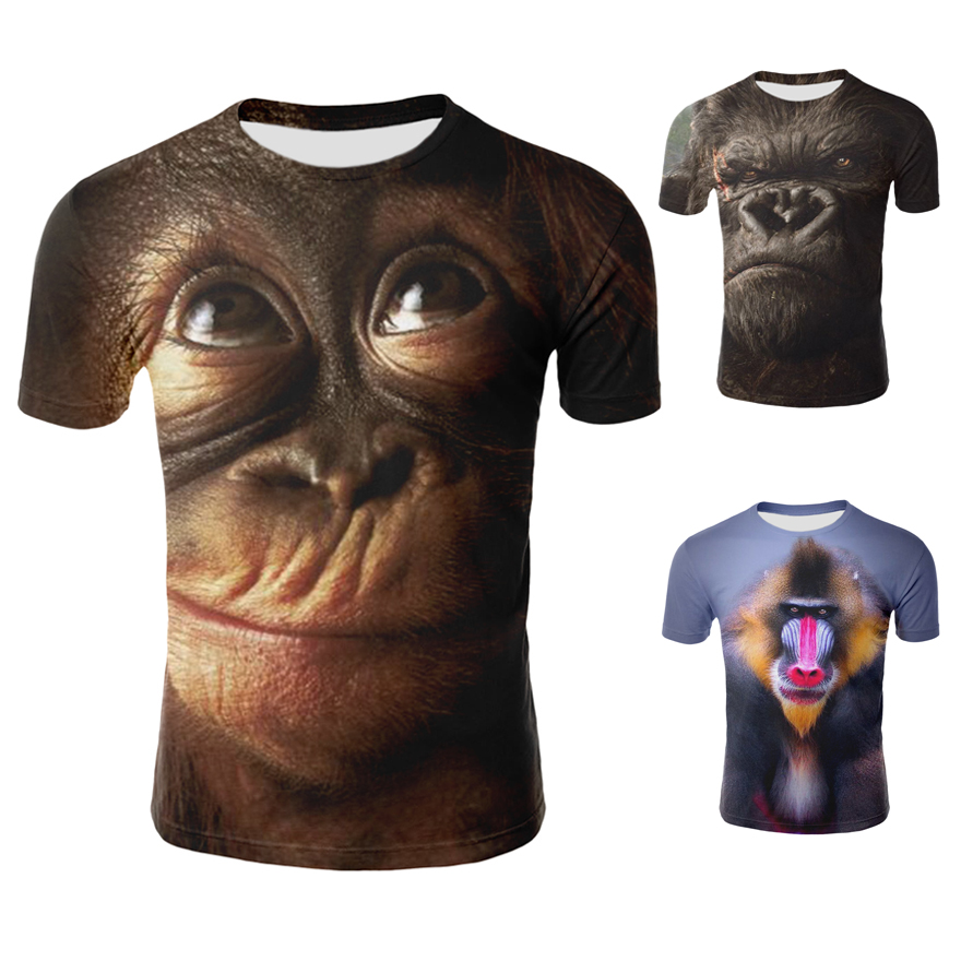 <font><b>Men</b></font> Animal T shirt <font><b>3D</b></font> Printed <font><b>Monkey</b></font> <font><b>Tshirt</b></font> Short Sleeve Round Casual Tops Tees Male Funny Animal Streetwear 2XS-4XL image