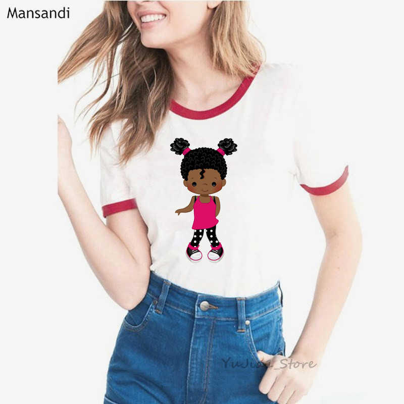 Nette Kaugummi Lockiges Haar schwarz gilr print t shirt frauen melanin hemd sommer harajuku kawaii kleidung top weiß weibliche t-shirt