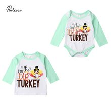 2019 Brand Thanksgiving Kids Baby Girl Big/Little Sister Matching Romper Bodysuit T-shirt Outfit Turkey Print Tops(China)