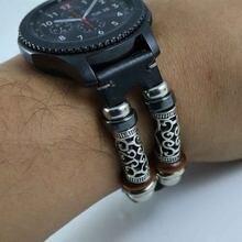 Bracelet de rechange en cuir pour montre connectée, rétro, luxe, pour huawei gt, Samsung Gear S3/Galaxy, 22mm, 46mm