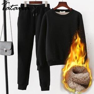 Image 1 - Tataria 2 חתיכה אימונית לנשים חורף ארוך שרוול לעבות חולצות נשים של חם חליפות נשי קטיפה מזדמן ספורט חליפה