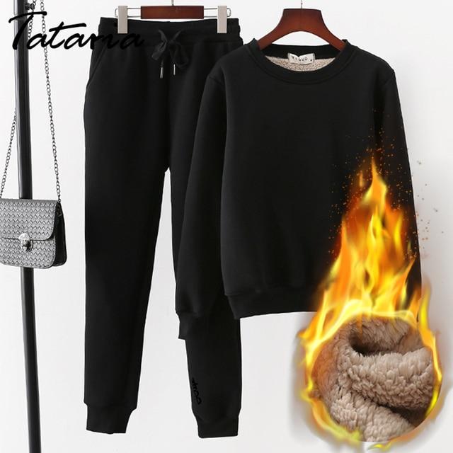 Tataria 2 חתיכה אימונית לנשים חורף ארוך שרוול לעבות חולצות נשים של חם חליפות נשי קטיפה מזדמן ספורט חליפה
