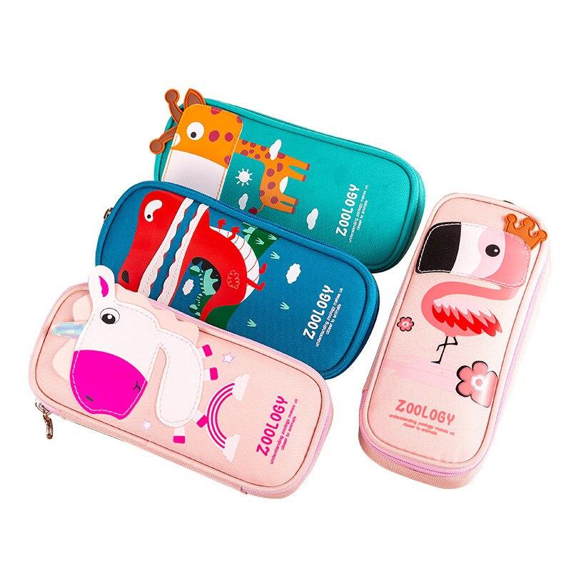 Kawaii Animal Unicorn Dinosaur Flamingo Pencil Case Zipper Large Capacity Pencil Box Portable Storage Bag School Supplies