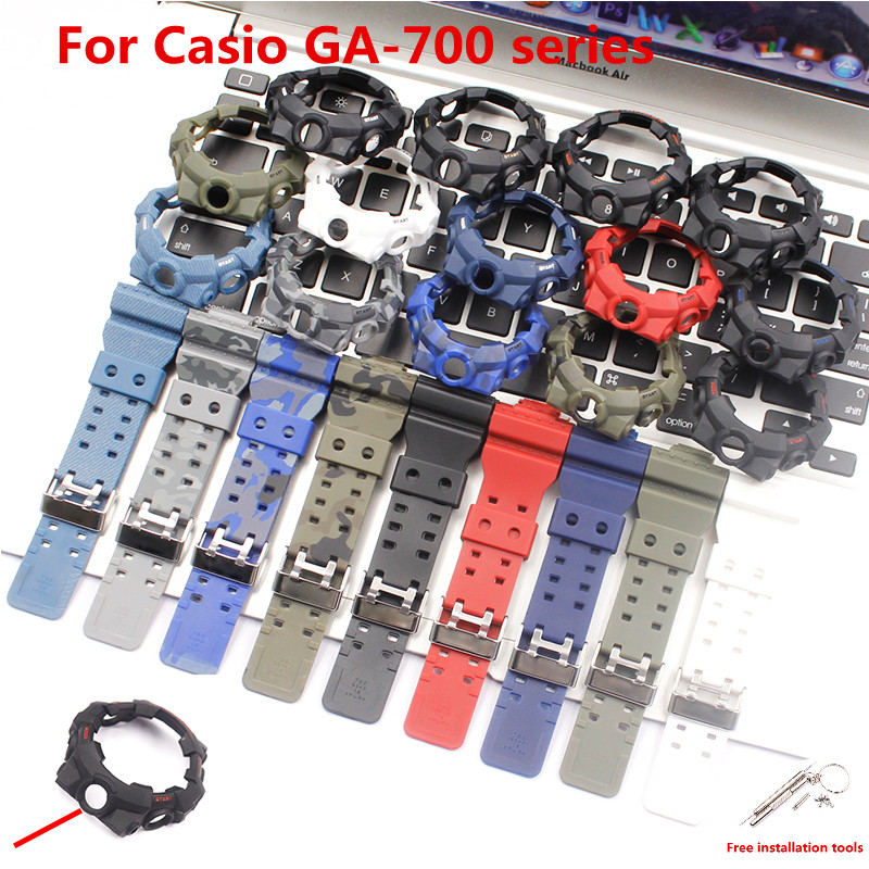 Watch Accessories Resin Strap Case For CASIO G-SHOCK GA700 710 GA800 Men's Women's Strap