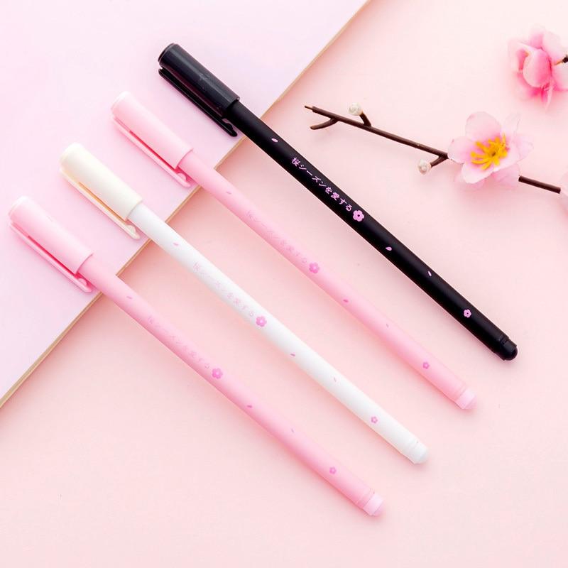 Cute Cherry Blossom Gel Pen Kawaii  0.38mm Black Ink Pen School Exam Signature Writing Supplies Stationery