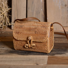 2020 New Women Shoulder Bags Rattan Bag Handmade Weave Vintage Literary Style Small Square Messenger Straw Bag Female Sac A Main(China)