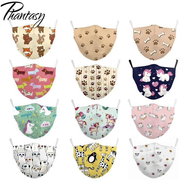 Phantasy Reusable Children's Cartoon Cute Unicorn Printed Masks Anti Dust Kid Face Masks Protective PM.25 Anti Pollution Mask