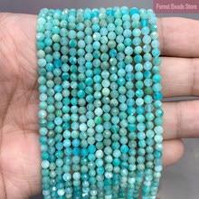 Pierre naturelle d'amazonite bleue à facettes, perles rondes amples d'espacement pour la fabrication de bijoux 15 pouces 2mm/3mm