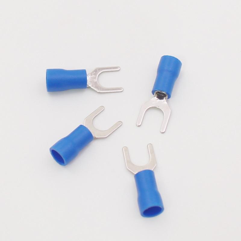 SV2-4 синий Furcate кабель провод разъема 100 шт./упак. Furcate предварительно изолируя Вилка Лопата 16 ~ 14AWG провода обжимных разъёмов, коннекторов для ...