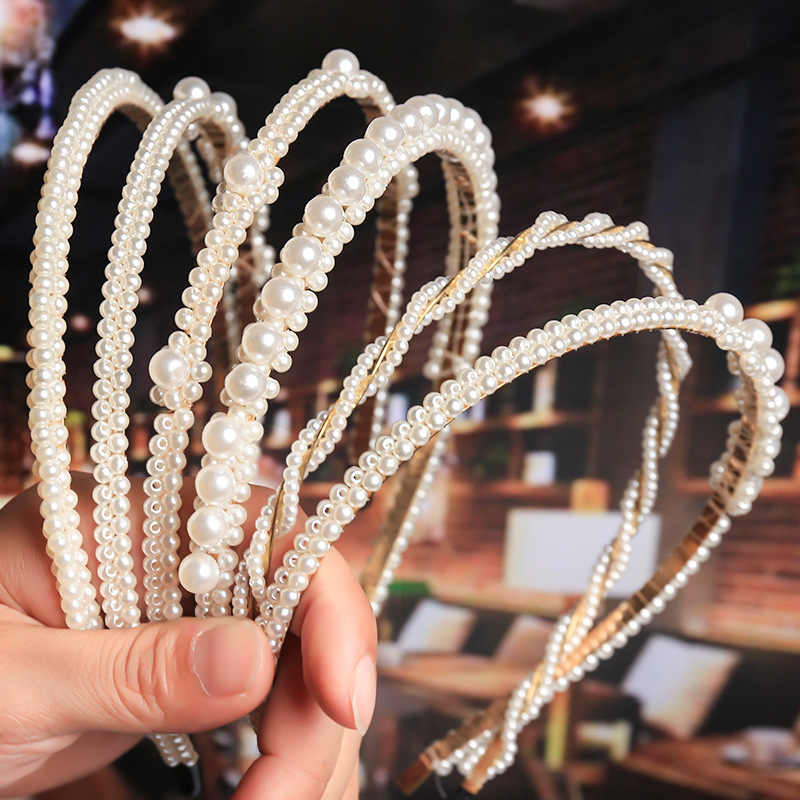 Fashion Simple Imitation Pearl Headband Girls Hair Accessories Ladies Headband Temperament Trend Hair Band Popular Accessories