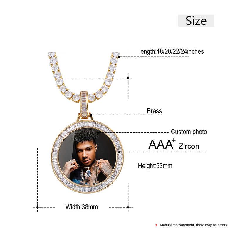 Novo personalizado foto memória medalhões sólido pingente colar quadrado de cristal baguette redondo hip hop jóias masculino personalizado corrente