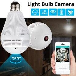 Kerui led luz 960 p panorâmica sem fio de segurança em casa wi fi cctv fisheye lâmpada câmera ip 360 graus segurança em casa assaltante