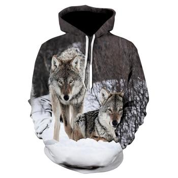 2019 brand new fashion animal 3D printed hoodie, men and women personalized design sweatshirt snow double Wolf harajuku hoodie недорого