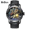 BIDEN модные часы с изображением дракона, мужские водонепроницаемые кварцевые часы с большим циферблатом, Роскошные мужские часы с тиснением,...