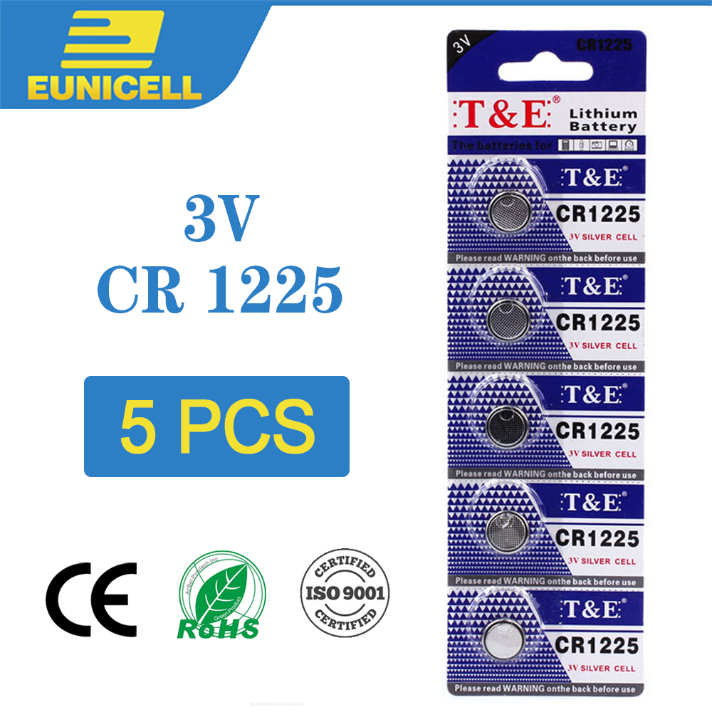 5pcs Lithium Cell Coin Battery 3V CR1225 CR 1225 Button Batteries LM1225 BR1225 KCR1225 For Watch Toy Remote Control Car Key