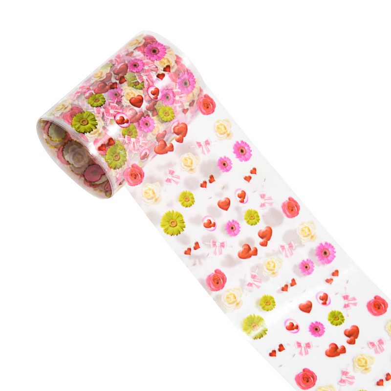 10Rolls  1 Box Lovely Romantic Pink Flowers Foil For Nails Transfer Sticker Holo Laser Starry Paper Nail Art Adhesive Valentine
