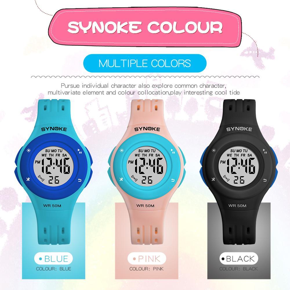 SYNOKE Спорт Дети часы красочные циферблат дизайн часы Водонепроницаемые 50м цифровой PU группа наручные часы для мальчиков девочек часы Relogio infantil для